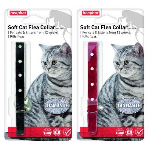 Beaphar Cat Flea Collar Diamante Black / Red 30cm
