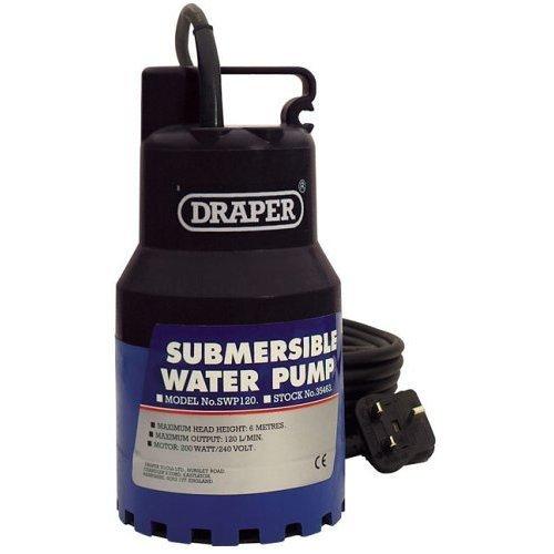 Draper 35463 Submersible Water Pump 6m Lift 230v - 200w 120lmin Max -  draper submersible water pump 230v 200w 120lmin 35463 max