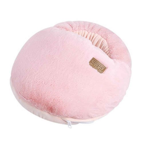 Multi-use Washable Winter Plush Slipper USB Charging Heating Foot Warmer For Home and Office #Pink Macaron