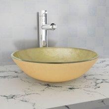 vidaXL Basin Tempered Glass 42 cm Gold