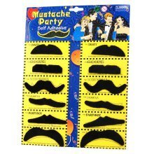 TRIXES Set of 12 Self adhesive Assorted Fake Moustache for Fancy Dress