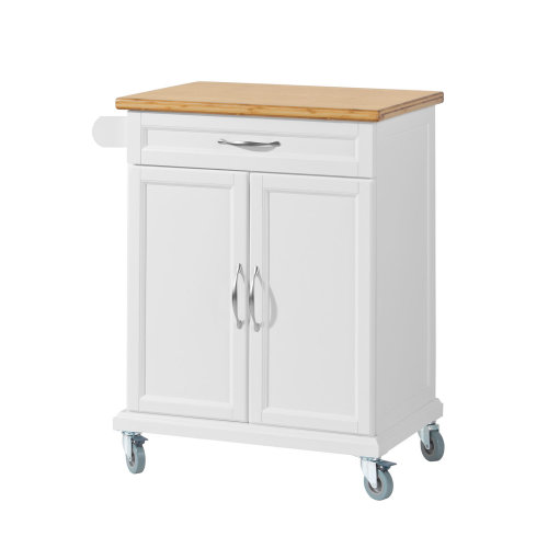 SoBuy® FKW13-WN, Kitchen Cabinet Storage Trolley with Bamboo Worktop
