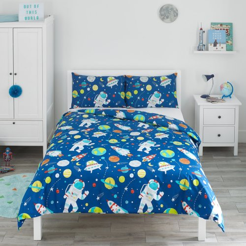 Bloomsbury Mill - Outer Space, Rocket & Planet - Kids Bedding Set - Blue - Double Duvet Cover & 2 Pillowcases