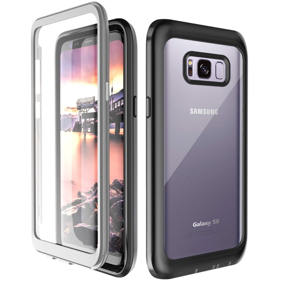 sneakers for cheap 5e209 7ead7 Samsung Galaxy S8 Case, 360° Protection Full-body Rugged Clear Bumper Case  With Kickstand Built-in Screen Protector Wireless Charging Support for...