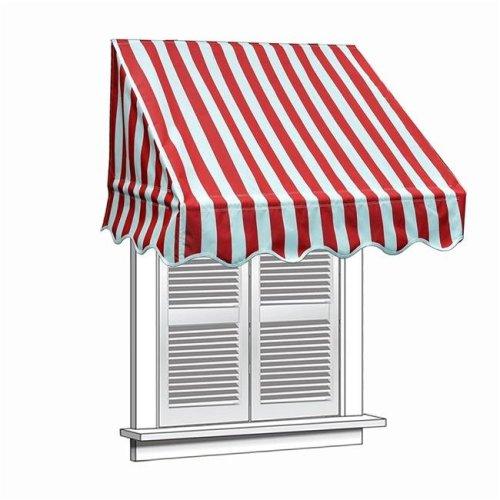 Aleko WAW6X2RWSTR05-UNB 6 x 2 ft. Window Door Canopy Decorator Awning, White & Red