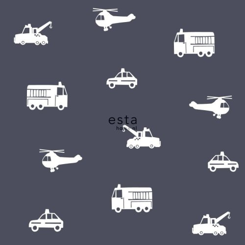 HD non-woven wallpaper cars, fire trucks, helicopters and cranes dark blue