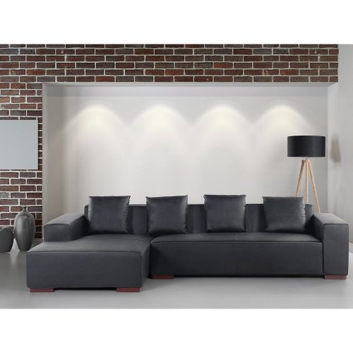 Modern Sectional Sofa Low Profile - Black Leather - LUNGO