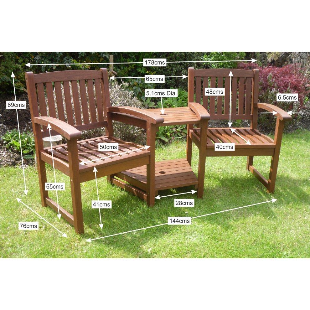 Henley Love Seat Hardwood Garden Bench Corner Companion