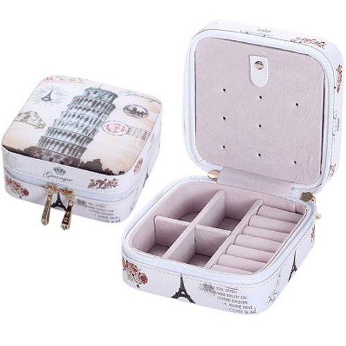 Small Jewelry Box Rings Earrings Necklace Organizer Display Storage Case for Travel, G