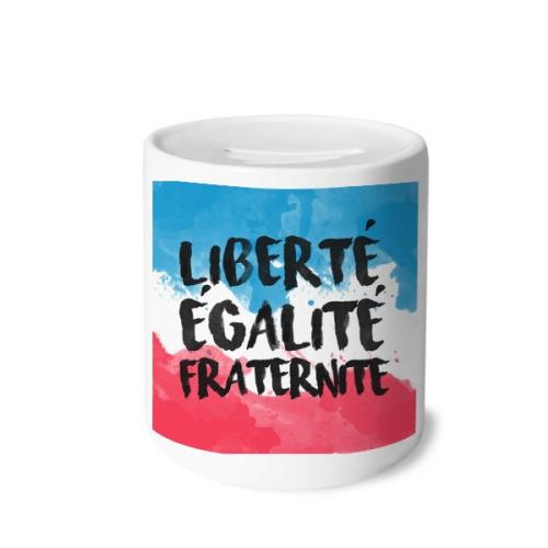 Liberte Egalite Fraternite France Mark Flag Money Box Saving Banks Ceramic Coin Case Kids Adults