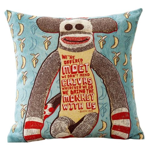 Monkey Home Pillowcase  Sofa Home Decor Cushion (Insert Included)