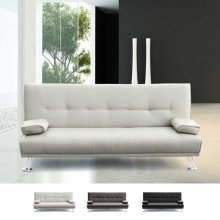 Sofa Bed 2 Seats in Faux Leather with Armrests OLIVINA
