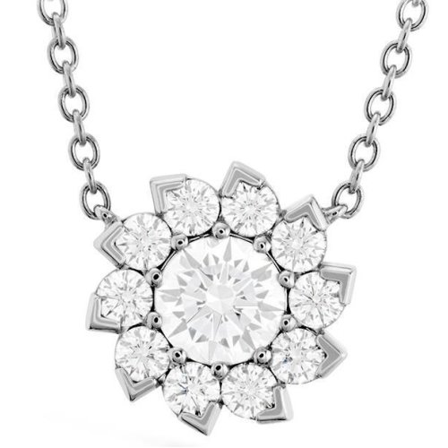 Necklace Pendant With Chain 3.00 Carats Sparkling Diamonds 14K White Gold