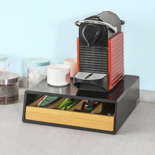 SoBuy® FRG280-SCH, Coffee Pod Capsule Teabags Drawer Box Holder Cabinet Coffee Machine Stand