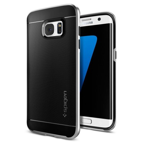 new style 32b05 1b9e0 Spigen Neo Hybrid Bumper Style Premium with Slim Fit Dual Layer Protective  Cover Case for Samsung Galaxy S7 Edge - Satin Silver