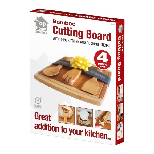 Bamboo Chopping Cutting Board with 3-Piece Kitchen and Cooking Wood Utensils