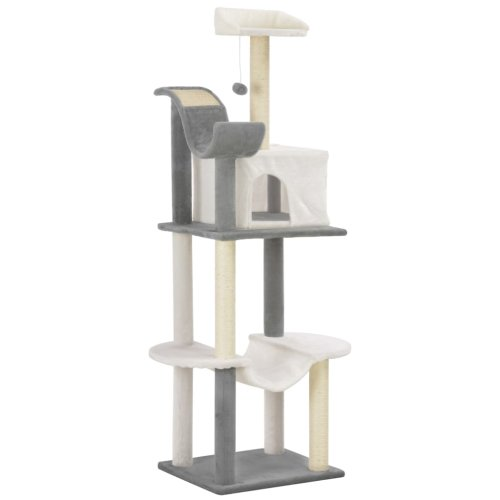 vidaXL Cat Tree with Sisal Scratching Posts Grey and White 155cm Play Tower