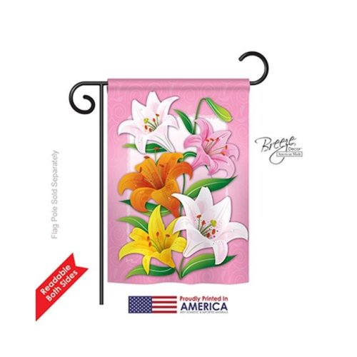 Breeze Decor 54075 Floral Lilies 2-Sided Impression Garden Flag - 13 x 18.5 in.