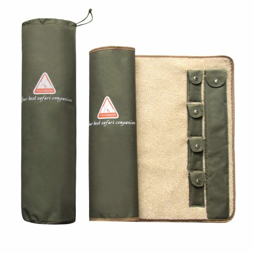 Tourbon GUN Rifle Roll-up Cleaning MAT Pad Shooting Hunting GUN Tool Kit Fleece Lined - Green