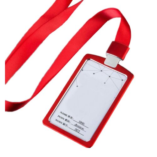 Aluminum Alloy Vertical Style ID Card Badge Holder with Neck Lanyard Strap 3PCS, 31