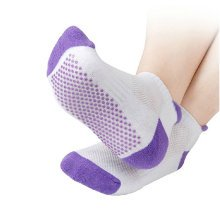 Breathable Yoga Non-slip Socks Cotton Socks with Grips for Women - Purple