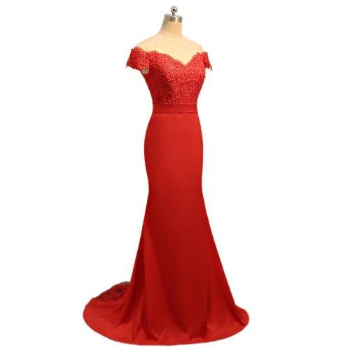 Mermaid V-neck Cap Sleeves Satin Lace Long Cheap Bridesmaid Dresses Under 50 Wedding Party Dresses