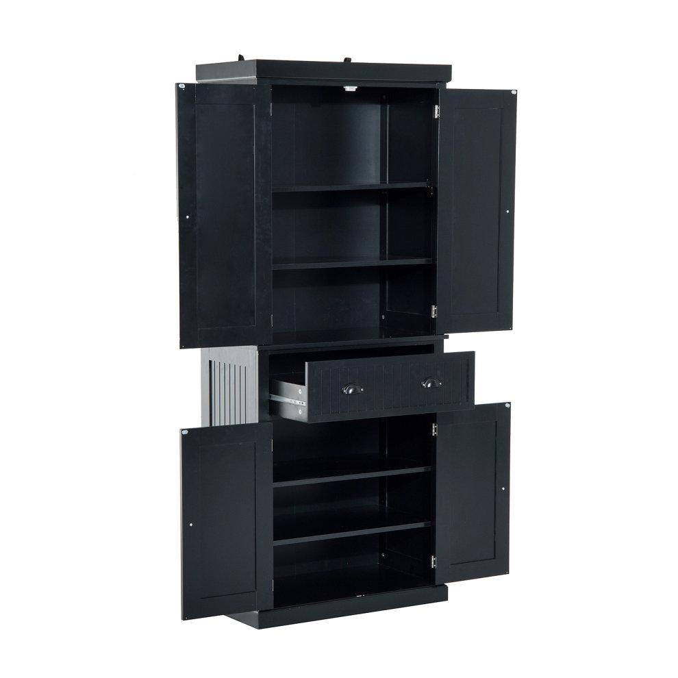 Homcom Storage Cabinet Cupboard Kitchen Pantry Organiser Black 5