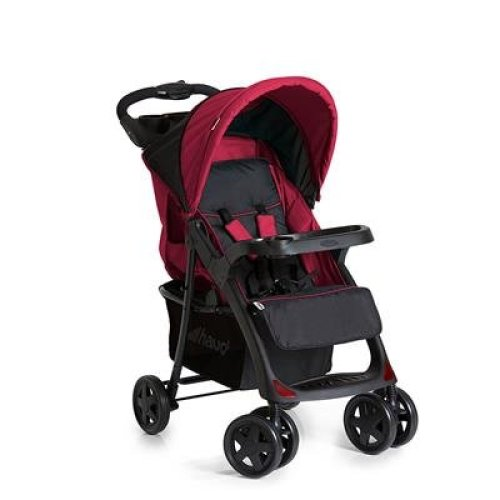 Hauck Shopper Neo II One Hand Fold 4 Wheel Pushchair with Raincover, from Birth to 22 Kg, Black/Red