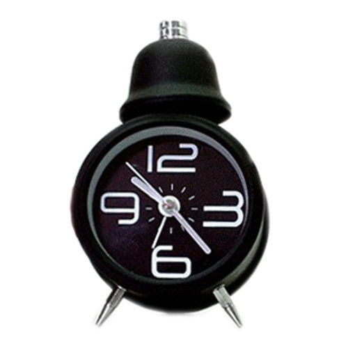 Metal Creative Small Night-light Alarm Clock with Loud Alarm Bell(Round,Black)