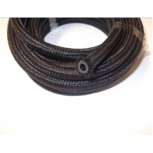 3 Metres x Cotton Over Braided Fuel Pipe. Rubber Nitrile. 2 Hose Clips per Meter