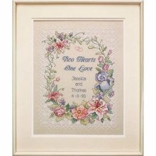 D03122 - Dimensions Stamped X Stitch - Wed/rec: Two Hearts