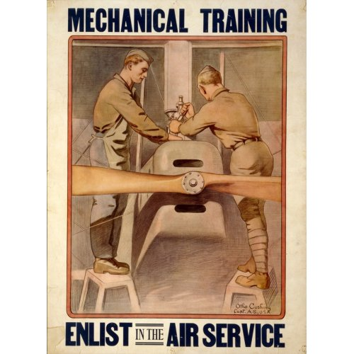 Advertising poster - Mechanical Training - Enlist in the Air Service - High definition printing on stainless steel plate
