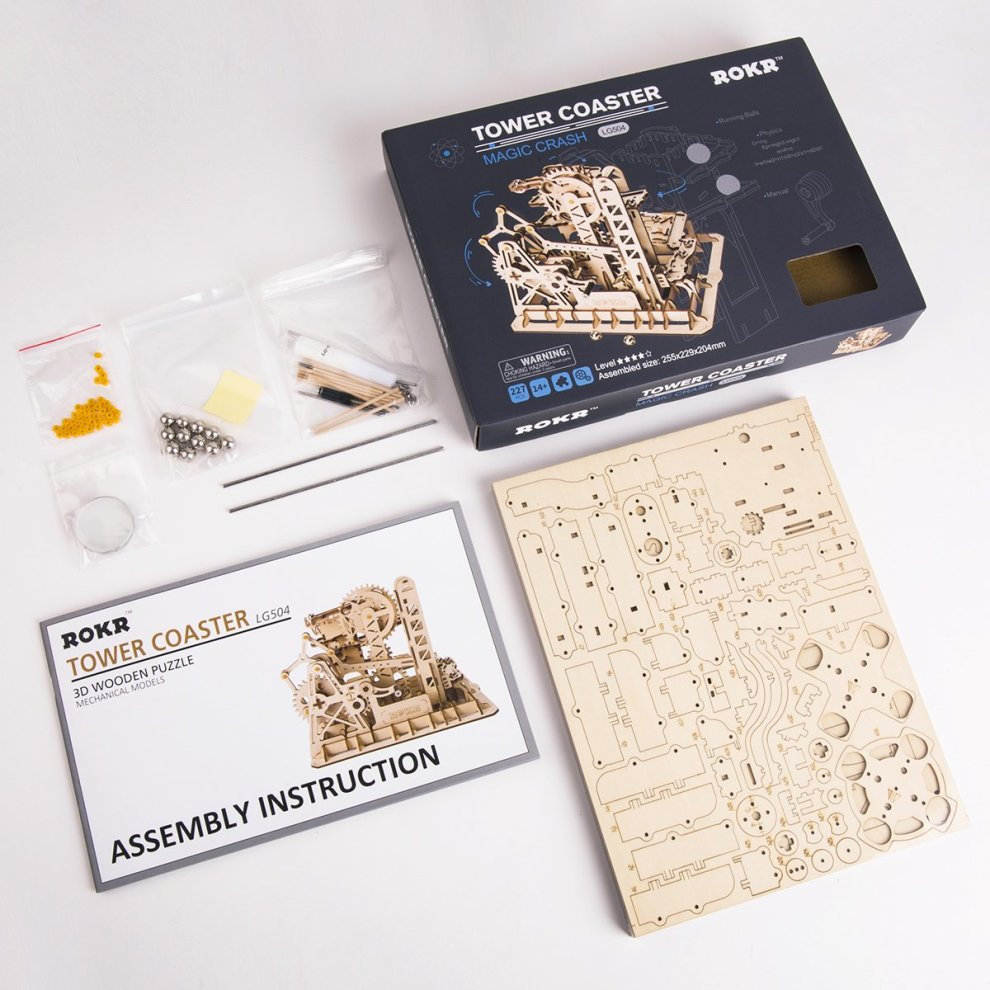 ROKR Mechanical Gears DIY Building Kit Mechanical Model Construction Kit  With Balls for Teens and Adults(Tower coaster)
