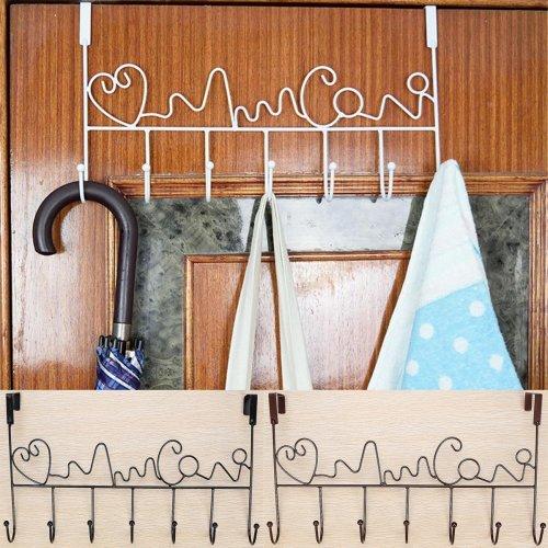Iron Door Wall Robe Hook Bathroom Sundries Hanger Storage Organizer Towel Rack