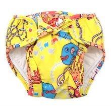 Baby Swim Trunks 0-3 Infants Cute Swimsuit Leakproof Swim Shorts, Yellow Octopus