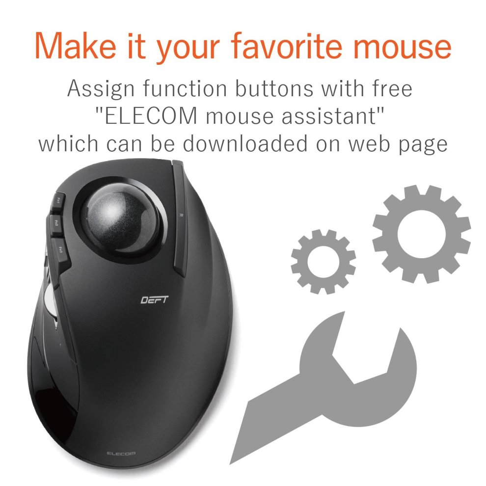 329858f17e5 ... ELECOM Wireless trackball mouse For the index finger 8 button tilt  function black M-DT2DRBK. >