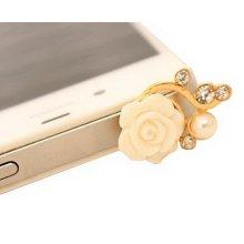 5 Pcs Hot Sale 3.5mm Cell Phone Anti Dust Plug Headset Dust Plug Rose WHITE