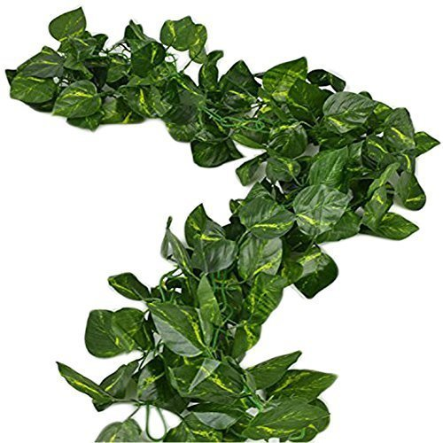Uni-love 156 feet Fake Foliage Garland Leaves Decoration Artificial Greenery Ivy Vine Plants for Home Decor Indoor Outdoors (Scindapsus Leaves)