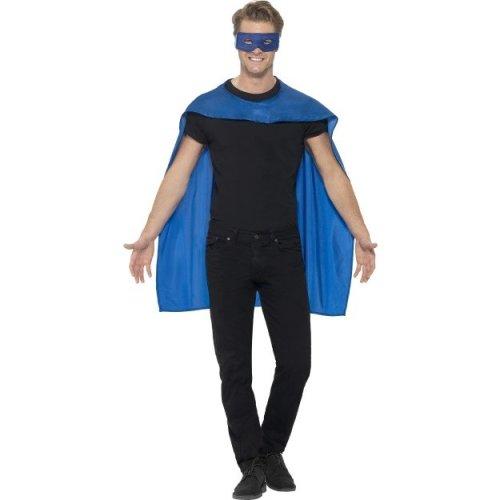 Smiffy's Men's Superhero Accessory Kit (blue) -  cape fancy dress superhero mask mens costume adult ladies outfit blue