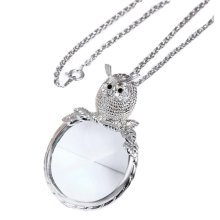 Fashion Magnifying Glass Necklace Owl Necklace Magnifier, Silver