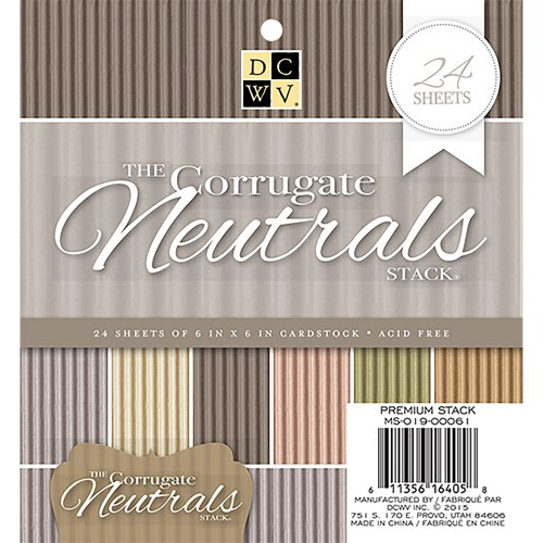 "DCWV Single-Sided Cardstock Stack 6""X6"" 24/Pkg-Corrugated Neutrals, 6 Colors/4 Each"