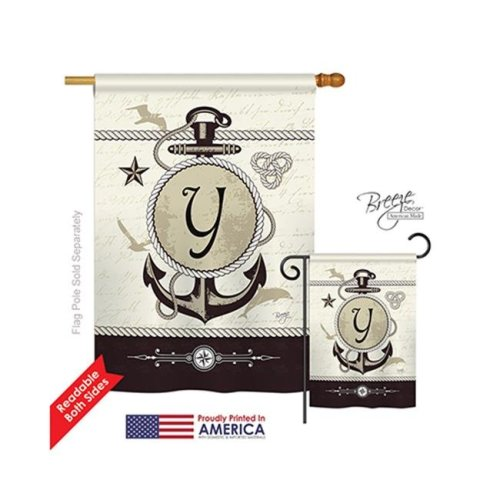 Breeze Decor 30207 Nautical Y Monogram 2-Sided Vertical Impression House Flag - 28 x 40 in.