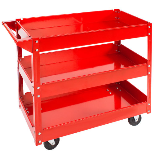Tool trolley with 3 shelves - red