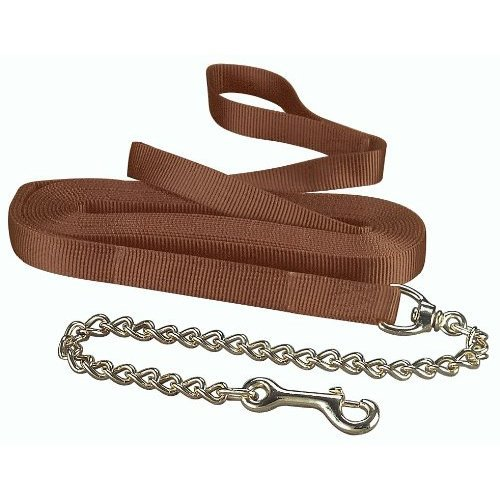 Hamilton 1 Inch Single Thick Nylon Horse Longe Line with Snap 26 Feet with 24 Inch Chain, Brown