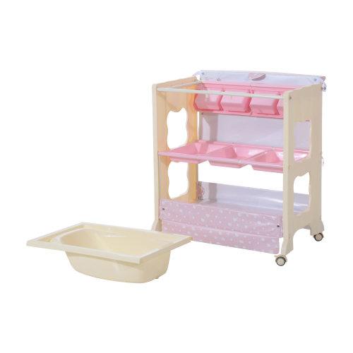 Homcom 3 tier Baby Changing Baby Bath and Dresser w/ Wheels (Pink)