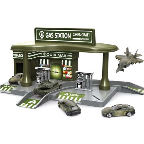 Petrol Station with 2 Alloy Toy Cars Interesting Children's Gifts.