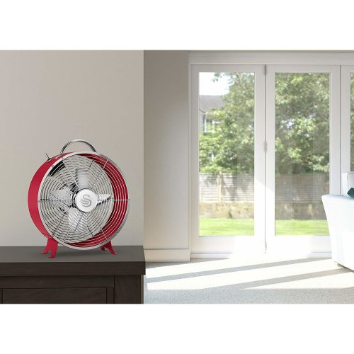 RED Swan Retro 8 Inch Floor / Desk Clock Fan, Low Noise, 20w