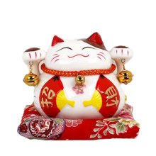 Lucky Cat Ceramic Piggy Bank Ornaments Opening Trumpet Save Money Or Gift