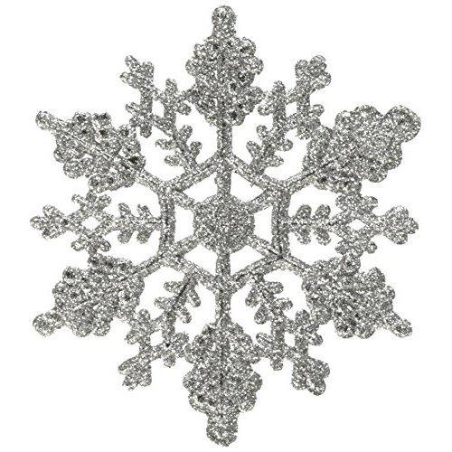 Vickerman Plastic Glitter Snowflake 4 Inch Silver 24 Per Box