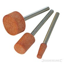 Silverline Rotary Tool Grinding Stone Set 3pce 9, 10 & 15mm Dia -  grinding set tool silverline 10 rotary stone 282582 15mm 9 wheel 3pce circular